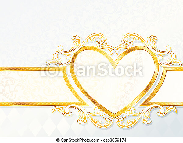Rococo Wedding Banner With A Heart Elegant White And Gold Wedding Banner Graphics Are Grouped And In Several Layers For