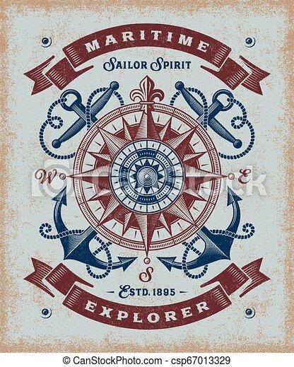 rocznik wina, badacz, morski, typografia - csp67013329