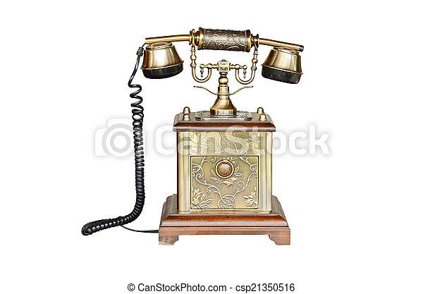 rocznik wina, biały, telefon, odizolowany - csp21350516