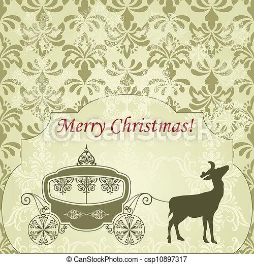 rocznik wina, jeleń, powitanie, wóz, wektor, kartka na boże narodzenie - csp10897317