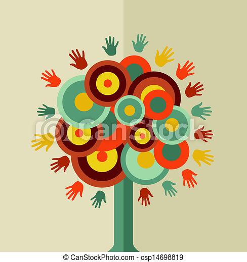 rocznik wina, koło, drzewo, barwny, ręka - csp14698819