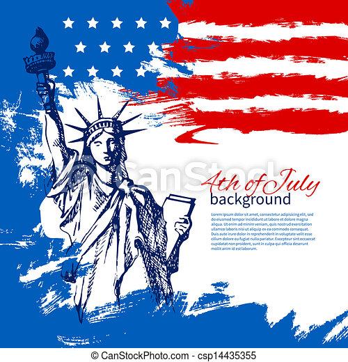 rocznik wina, ręka, amerykanka, 4, projektować, tło, flag., pociągnięty, lipiec, dzień, niezależność - csp14435355