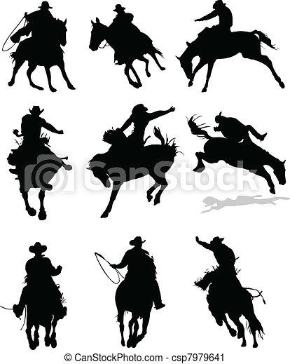 rodéo, cheval, silhouettes., il, vecteur - csp7979641