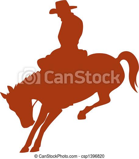 rodéo, cow-boy, silhouette, cavalier cheval - csp1396820