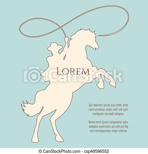 rodéo, silhouette, fond, cow-boy - csp48596552