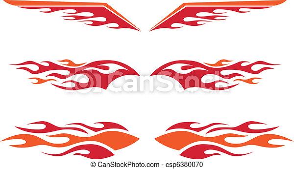 rod chaud, flammes - csp6380070
