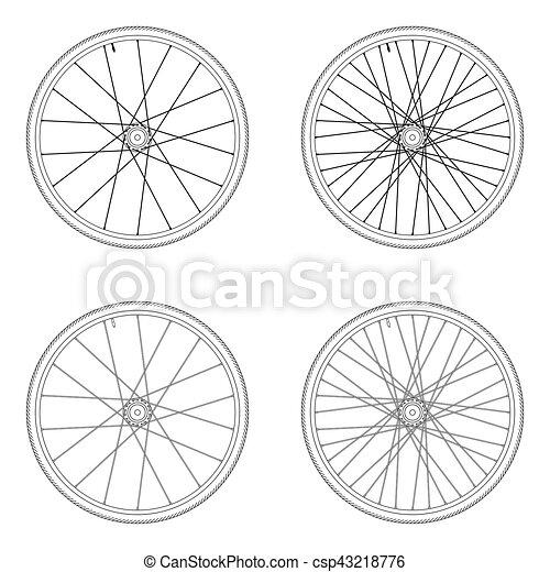 roda, bicicleta falou, 4x, cor, padrão, isolado, pretas, tangential, fundo, laço, branca - csp43218776
