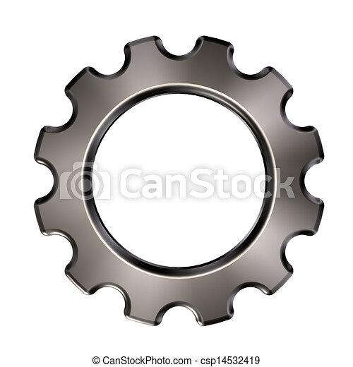 roda, engrenagem, -, metal, ilustração, fundo, branca, 3d - csp14532419