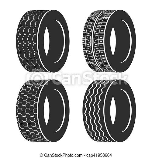 roda, pneu, autocarro, borracha, caminhão, pneumático, automático, ou - csp41958664