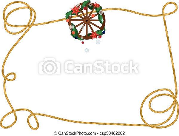 roda, vagão, quadro, natal - csp50482202