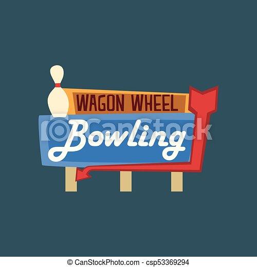 roda, vagão, rua, signboard, boliche, ilustração, vetorial, retro, vindima, bandeira - csp53369294