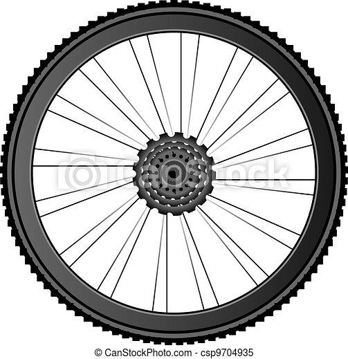 roda, vetorial, -, ilustração, bicicleta, branca - csp9704935