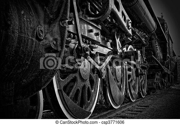 rodas, trem, close-up, vapor - csp3771606