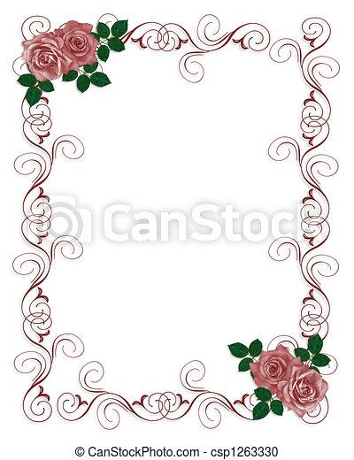 rode rozen, uitnodiging, trouwfeest - csp1263330