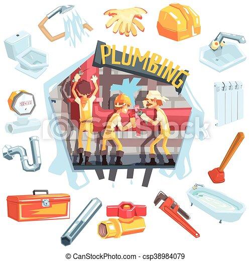 Tres fontaneros en el trabajo rodeados de objetos relacionados con la profesión - csp38984079
