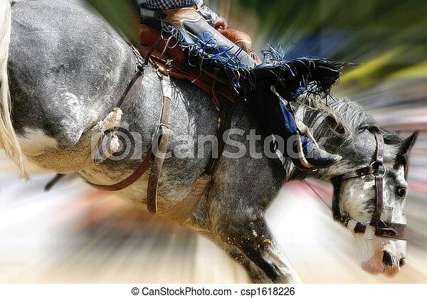 rodeo, bronc, zoom, pferdesattel - csp1618226