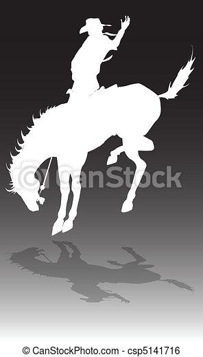 rodeo, caballo, ilustración, vaquero - csp5141716