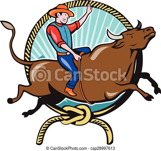 rodeo cowboy bull riding lasso cartoon illustration of vector rh canstockphoto com mechanical bull riding clip art