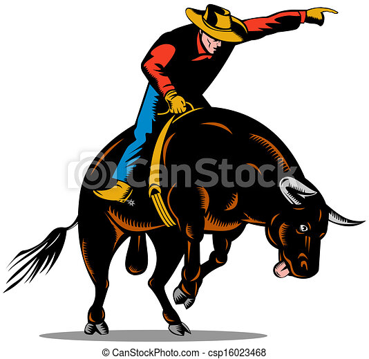 rodeo cowboy bull riding retro illustration of rodeo cowboy rh canstockphoto com  free rodeo clipart borders