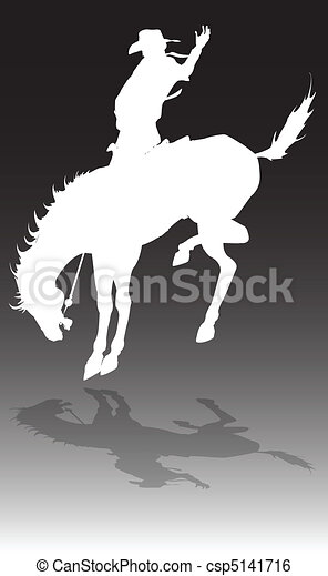 rodeo cowboy on horse illustration - csp5141716