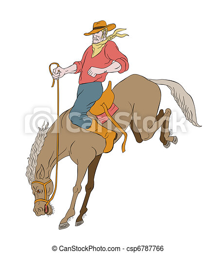 rodeo cowboy riding bucking horse bronco - csp6787766