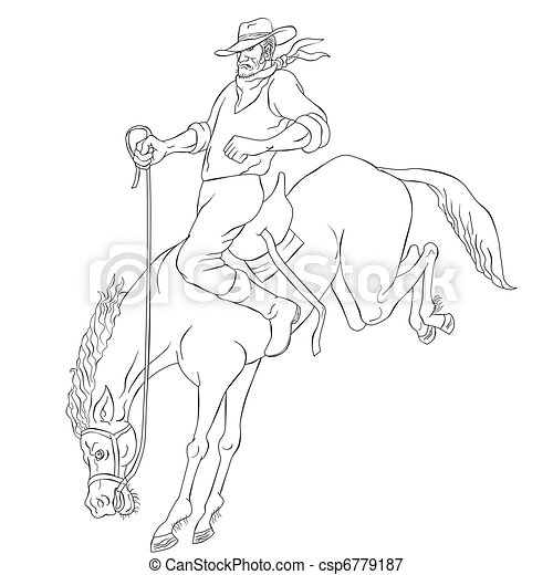 rodeo cowboy riding bucking horse bronco - csp6779187