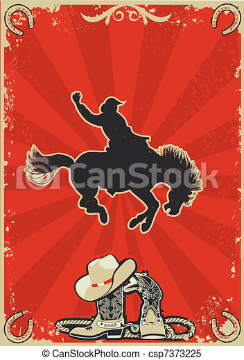 Rodeo cowboy.Wild horse race.Vector graphic poster with grunge background for text - csp7373225