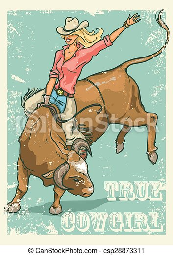 Rodeo Cowgirl riding a bull, Retro style Poster - csp28873311