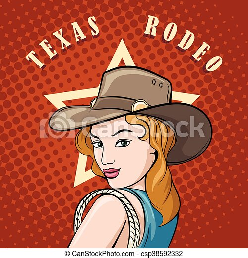 f9e1b18cf562f Rodeo cowgirl with lasso. Pretty girl in cowboy hat with lasso. pop ...