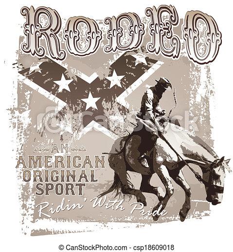 rodeo, deporte, norteamericano, original - csp18609018