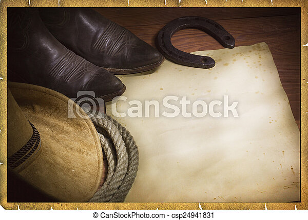 Rodeo vaquero con sombrero occidental y lazo - csp24941831