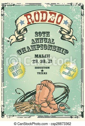 Un póster de rodeo estilo retro. - csp28873362