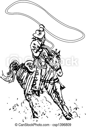 rodeo rider western cowboy line art rodeo rider or