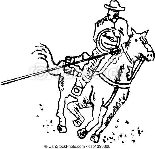 Rodeo rider western cowboy line art. Rodeo rider or western cowboy ... f7f61dccc68