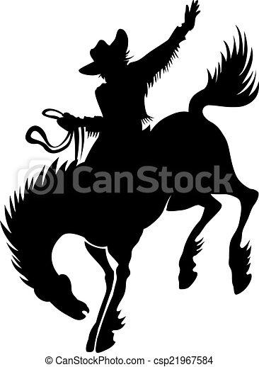Vaquero en la silueta de rodeo - csp21967584
