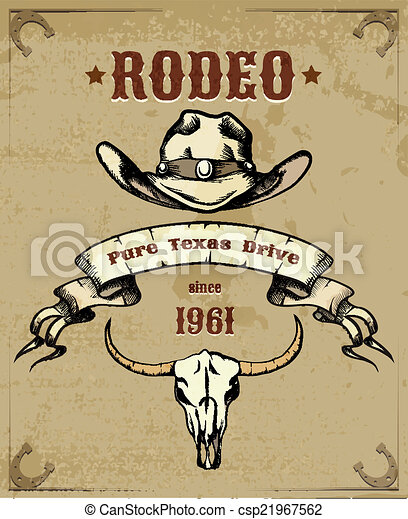 Rodeo Themed Graphic with Cowboy Hat and Skull - csp21967562