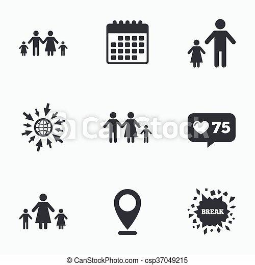 rodzina, poznaczcie., dwa, rodzice, dzieci, kids. - csp37049215