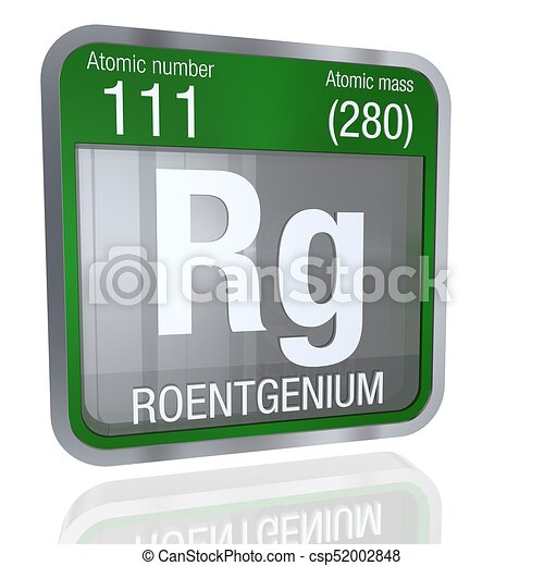 Roentgenium symbol in square shape with metallic border and roentgenium symbol in square shape with metallic border and transparent background with reflection on the floor urtaz Choice Image