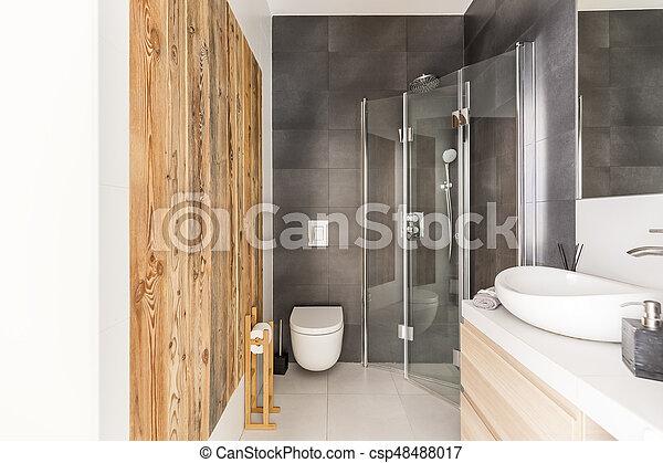 Roh, badezimmer, holz, design. Badezimmer, hölzern, modern ...