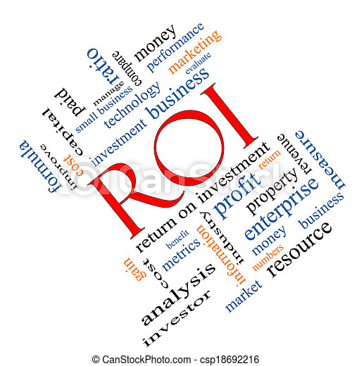 ROI Word Cloud Concept Angled - csp18692216