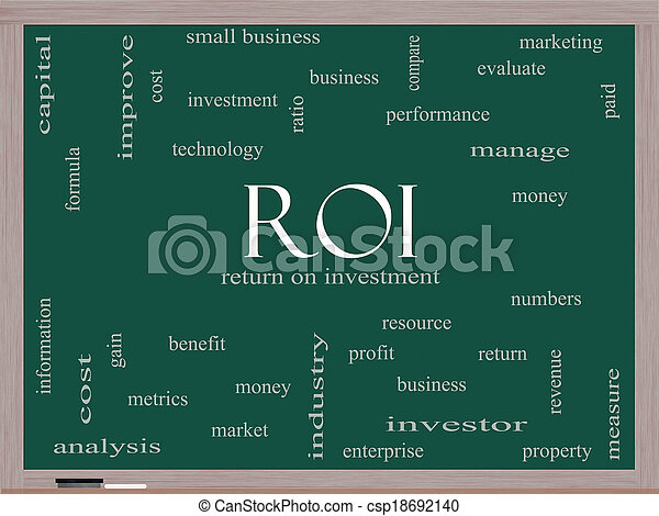 ROI Word Cloud Concept on a Blackboard - csp18692140