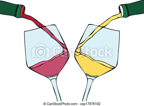 Vino blanco y vino tinto - csp17976102