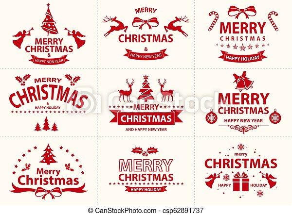 Un juego de etiqueta roja de Navidad - csp62891737