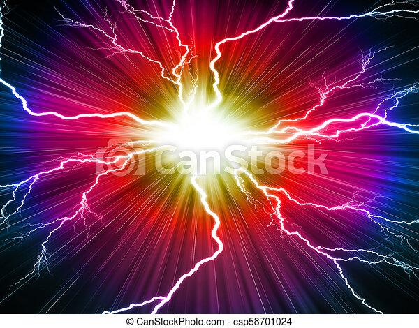 Un rayo eléctrico en un fondo rojo - csp58701024