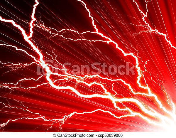 Un rayo eléctrico en un fondo rojo - csp50839800