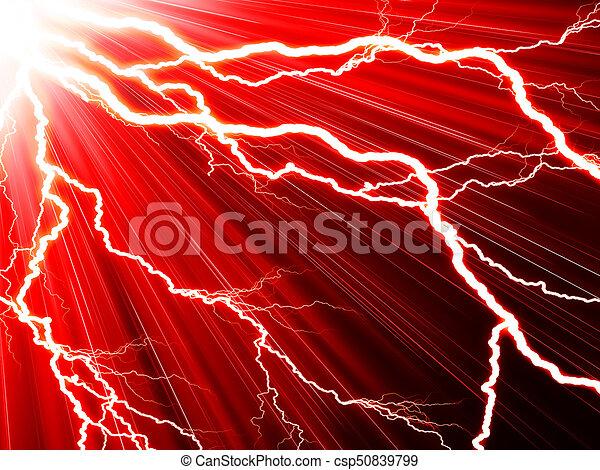 Un rayo eléctrico en un fondo rojo - csp50839799