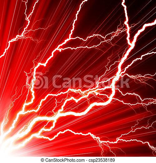 Un rayo eléctrico en un fondo rojo - csp23538189