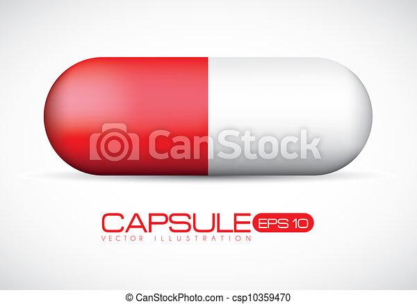 Ilustración de cápsulas rojas - csp10359470