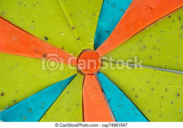rojo, pedazos, queso, verde azul - csp74961847