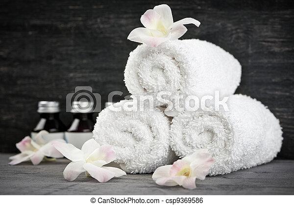 rolado, spa, cima, toalhas - csp9369586